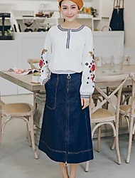 Women's Pencil Solid Denim Skirts,Going out / Casual/Daily Simple / Street chic Mid Rise Midi Zipper Cotton / Polyester / Nylon Inelastic