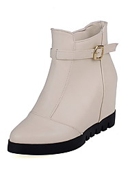 Women's Pull-on High-Heels PU Solid Low-top Boots