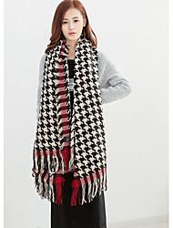 Women's Acrylic Rectangle,Casual Check Fall Winter