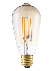 4W E26/E27 Ampoules à Filament LED ST64 4 COB 350 lm Ambre Décorative / Gradable AC 100-240 V 1 pièce