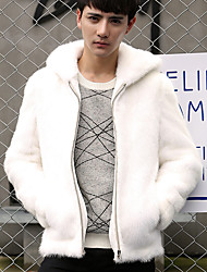 Men's Casual/Daily Simple Jackets,Solid Hooded Long Sleeve Winter White / Black Faux Fur Thick