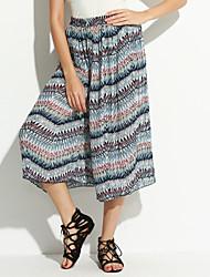 Women's Print Blue Chinos / Loose / Wide Leg Pants,Vintage / Cute
