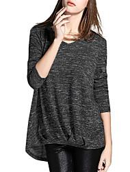 Tee-shirt Femme,Couleur Pleine Sortie / Décontracté / Quotidien simple / Chic de Rue Printemps / Automne Manches Longues Col en VRouge /