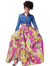 Women's Boho Rosy Gold Printed High Split Maxi Skirt