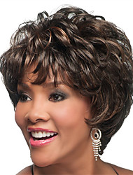 Capless Short Bobo Full Bang Curly Synthetic Wigs for Women Dark Brown Heat Resistant with Free Hair Net