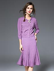 Женский На каждый день Осень Рубашка Юбки Костюмы V-образный вырез,Простое Однотонный Розовый / Белый / Черный / Фиолетовый Длинный рукав,