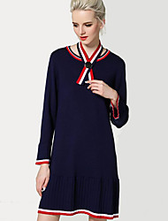 Women's Going out / Beach / Holiday Sexy / Cute / Chinoiserie Sweater Dress,Solid Round Neck Knee-length Long Sleeve Blue / Red / Black