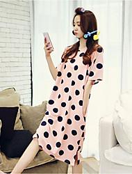 Damen Babydoll & slips Nachtwäsche,Retro Punkte-Mittelmäßig Baumwolle Rosa