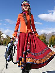 Mujer Tallas Grandes Faldas,Línea A Estampadochinoiserie Tiro Medio Casual/Diario Midi Elasticidad Poliéster Inelástica Otoño
