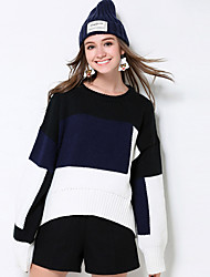 Mujer Regular Pullover Casual/Diario / Tallas Grandes Simple,Bloques Negro Escote Redondo Manga Larga Acrílico Otoño / Invierno Medio
