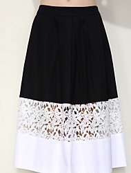 Women's A Line Solid Patchwork Skirts,Going out Simple / Street chic Mid Rise Midi Zipper Cotton Inelastic Spring / Summer