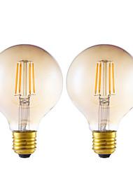4W E26/E27 Ampoules à Filament LED G80 4 COB 350 lm Ambre Gradable AC 100-240 V 2 pièces