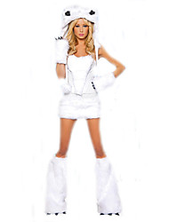 Cosplay Costumes Santa Suits Movie Cosplay White Solid Top / Skirt / Gloves / Hat Christmas Female Polyester