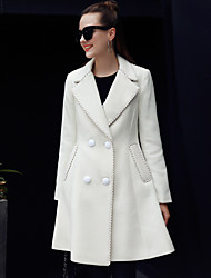 Women's Going out / Casual/Daily Simple Coat,Solid Long Sleeve Winter White Polyester Medium