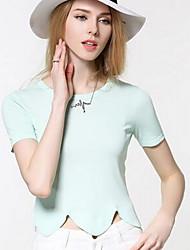 Damen Standard Pullover-Ausgehen Retro Solide Rosa Grün Rundhalsausschnitt Kurzarm Polyester Winter Mittel Mikro-elastisch
