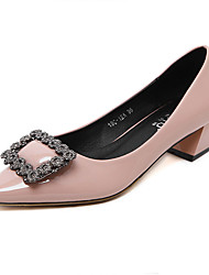 Women's Heels Fall Winter Platform PU Office & Career Casual Low Heel Platform Crystal Black Pink