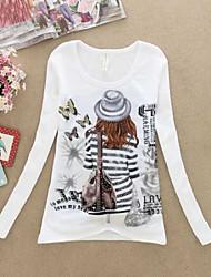 Damen Druck Einfach Lässig/Alltäglich T-shirt,Rundhalsausschnitt Herbst Langarm Mehrfarbig Baumwolle Mittel