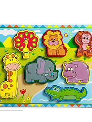 Quebra-cabeças Brinquedo Educativo / Quebra-Cabeça Blocos de construção DIY Brinquedos Elefante / Touro / Cavalo 8 Madeira Arco-Íris
