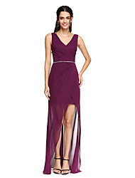 2017 Lanting Bride® Asymmetrical Chiffon Open Back Bridesmaid Dress - V-neck with Beading