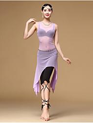 Dança do Ventre Roupa Mulheres Treino Elastano Tule Frufru 3 Peças Sem Mangas Alto Vestido Calções Cinto