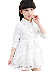 Girl's Casual/Daily Solid Dress,Cotton Blend Summer Long Sleeve