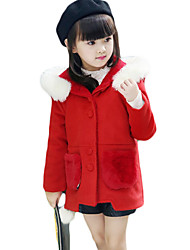 Girl Casual/Daily Solid Down & Cotton Padded,Wool Blend Winter Long Sleeve