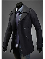 Men's Casual/Daily / Holiday Vintage / Simple Trench Coat,Solid Shirt Collar Long Sleeve Spring / Fall Blue / Black / Gray Wool Medium
