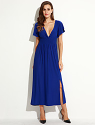 Women's Holiday / Plus Size Boho Dress,Solid Deep V Maxi Short Sleeve Blue Cotton / Polyester Summer