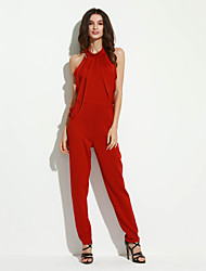Women's Backless  Empire Draped Fringe Jumpsuit