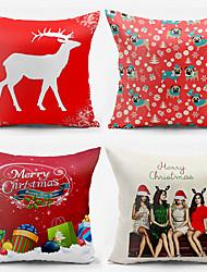 4 pcs Coton / Polyester Housse de coussin / Taie d'oreiller,Vacances Moderne/Contemporain / Décontracté / Décoratif