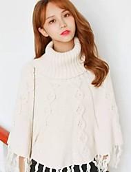 Damen Standard Pullover-Ausgehen Lässig/Alltäglich Einfach Niedlich Solide Weiß Kapuze ¾-Arm Kunstseide Herbst Winter Mittel
