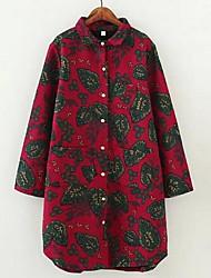 Женский На выход / На каждый день Весна / Осень Рубашка V-образный вырез,Простое Цветочный принт / Вышивка Красный Длинный рукав,