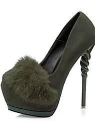 Women's Shoes Slip-on Fleece Bowknot Heels/Pumps Pointed Toe Stiletto Heels Party/Dress Shoes
