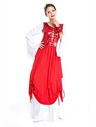 Festival/Celebração Trajes da Noite das Bruxas Vermelho / Branco Estampado VestidoDia Das Bruxas / Natal / Carnaval / Dia da Criança /