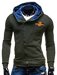 Men's Casual/Daily Sports Going out Active Hoodie Solid Micro-elastic Cotton Long Sleeve Spring Fall