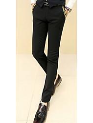 Masculino Reto Chinos Calças-Cor Única Casual Simples Cintura Média Zíper Algodão Micro-Elástico Com Molas / Outono