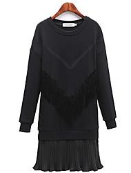 Fashion large size women Long sleeves Round neck Loose Tassel Fake two Dress