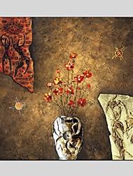 Peint à la main Nature morte / A fleurs/Botanique Peinture à l'huile + Prints,Modern / Classique Un Panneau ToilePeinture à l'huile