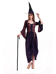 Costumes de Cosplay Sorcier/Sorcière / Reine Cosplay de Film Marron Couleur Pleine Robe / Chapeau Halloween / Carnaval Polyester