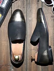 Masculino-Mocassins e Slip-Ons-ConfortoAzul / Dourado / Vinho-Pele-Casual