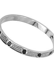 Feminino Bracelete Aço Inoxidável Strass Moda Prata Jóias 1peça