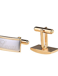 Gold Plated Engraved Cuff Buttons Wedding Gifts For Guests Personalized Cufflinks Men's Jewelry
