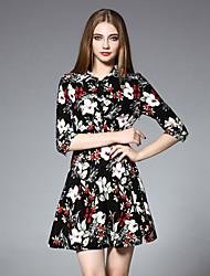 JOJO HANS Women's Casual/Daily Chinoiserie A Line DressFloral Shirt Collar Above Knee  Sleeve Black Cotton Fall Mid Rise Inelastic Medium