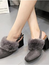 2016 new Rabbit fur high-heeled shoes thick with fashion shoes