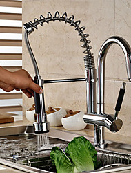 High-quality Fashion Brass Spring Pull-out/Pull-down 360 Degree Rotatable Kitchen Faucet - Silver