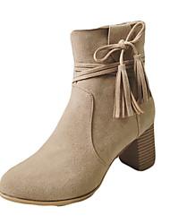 Women's Boots Winter Comfort PU Dress Low Heel Zipper Others Black Coffee