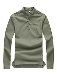 Chemise Hommes,Couleur Pleine Sortie / Travail simple Printemps / Automne Manches Longues Col de Chemise Vert / Orange Coton Moyen
