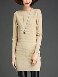 Long Pullover Femme Sortie / Décontracté / Quotidien simple,Couleur Pleine Rouge / Beige / Noir / Gris / Vert Bateau Manches Longues
