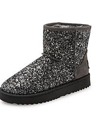 Women's Boots Fall Winter Platform PU Outdoor Dress Casual Low Heel Platform Gold Silver Walking
