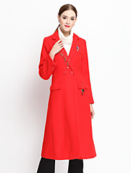 YZXH  Women's Casual/Daily Simple CoatSolid Notch Lapel Long Sleeve Fall Red Wool / Acrylic / Nylon